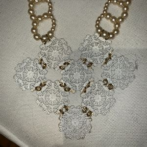 """Jewelry - White """"lace"""" + gold faux pearl necklace"""